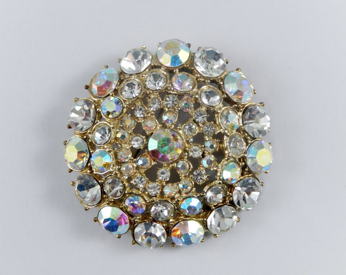 Vintage Rhinestone Flower Brooch, Clear and AB Rhinestones. Inset and Openwork Center, Rhinestone Jewelry