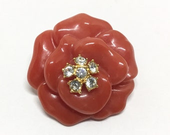 Vintage Nolan Miller Red Rose Pendant, Clear Rhinestone Center, Molded Resin Rose, Goldtone Bale, Nolan Miller Jewelry