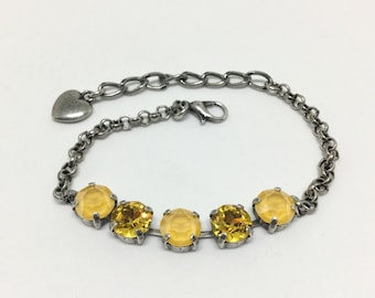Swarovski Crystal Bracelet, Sunflower and Buttercup Crystals, Sparkling 5 Crystal Bracelet