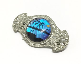 Vintage 1940s Butterfly Wing Brooch, Genuine Morpho Butterfly Wing, Silvertone Filigree Setting, Reverse Painted Tropical Sunset, Art Deco