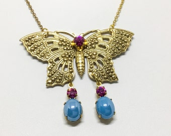 Handmade Butterfly Rhinestone and Bead Necklace, Openwork Brass Butterfly, Rhinestones & Beads, BOHO, Goldtone Chain