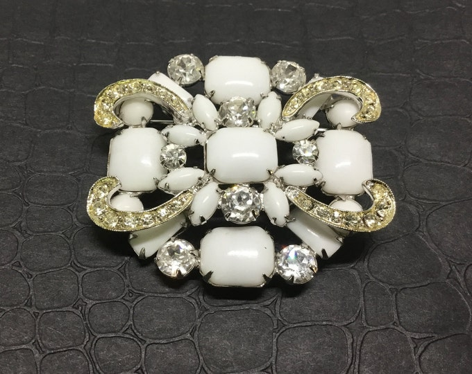 Vintage Weiss Milk Glass and Rhinestone Brooch, Sparkly Rhinestones, Bridal Jewelry, Weiss Collectors