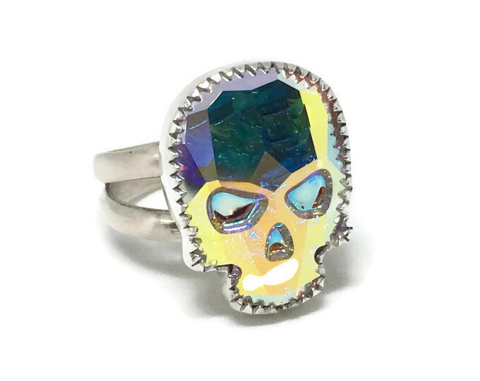 Skull ring/ Goth/ Swarovski/ AB Crystal/ Sterling Silver/Handcrafted/ Custom Sizes