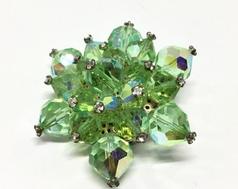 Vintage Bead Cluster Brooch,  Green Glass Beads, Wired Beads, Rhinestone Headpins