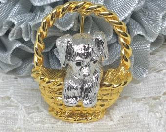 Vintage Joan Rivers Signed Dog in Basket Brooch Pin