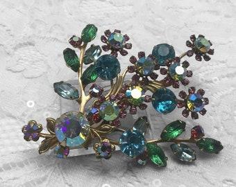 Vintage Rhinestone Floral Bouquet Brooch, Art Glass Carved Leaves, Vintage Jewelry