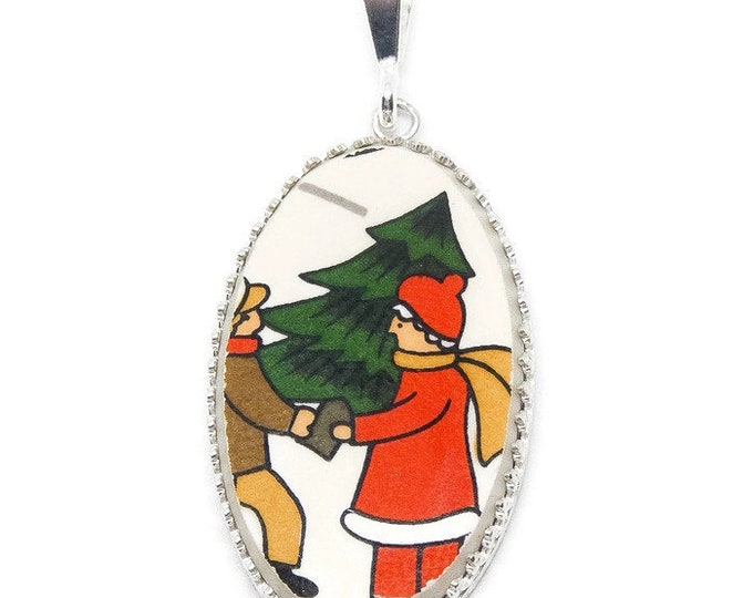 Broken China Jewelry/ Christmas Necklace/ Handcrafted/ Made USA/ Sterling Silver