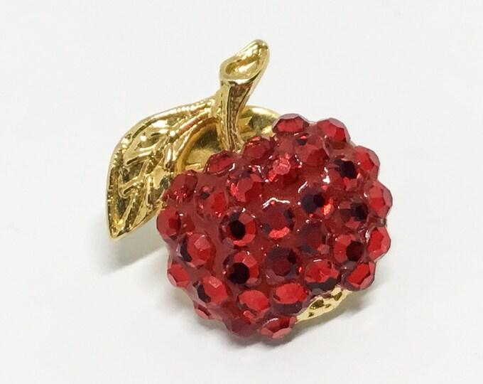 Vintage Cherry Tac Pin, Signed Suzanne Bjontegard, Fruit Pin, Sparkly Cherry, Boho