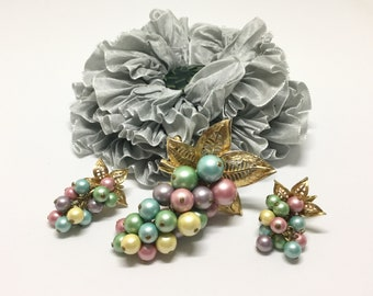 Vintage PARK LANE Pastel Faux Pearl Cascade Leaf Brooch/Pendant/Earrings