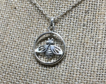 Honey Bee Pendant/ 925 Sterling Silver/ Bee Necklace/ Handcrafted