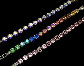 Handset Swarovski Crystal Bracelets, Choice of Three, Sparkly and Colorful
