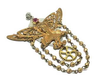 Handcrafted Vintage Butterfly Princess Pendant, French Brass Stamping, Gold Bead Drape, Pink Swarovski Crystal, Sterling Spoon Base, Unique