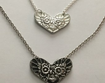 Handcrafted Pewter Heart Necklace, Cast From Vintage Spoons,  Floral Pewter Heart, Boho, Steampunk, Unique, Romantic