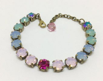 Swarovski Crystal Bracelet, AB and Opalescent Colors, Handcrafted Bracelet, Sparkling 8mm Crystals, Rhinestone Bracelet