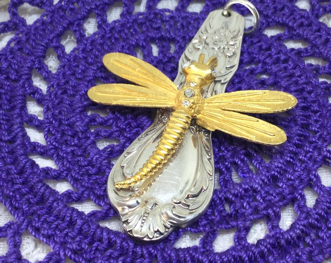 Vintage Silverplated Spoon Handle with Goldtone Dragonfly Pendant
