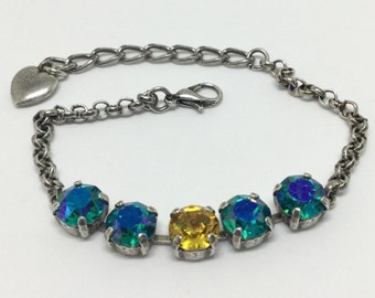 Swarovski Crystal Bracelet, Glacier Blue Crystals,  Center Sunflower Crystal, Sparkling 8mm Crystals