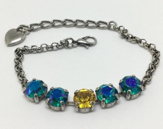 Swarovski Crystal Bracelet, Glacier Blue Crystals,  Center Sunflower Crystal, Sparkling 8mm Crystals