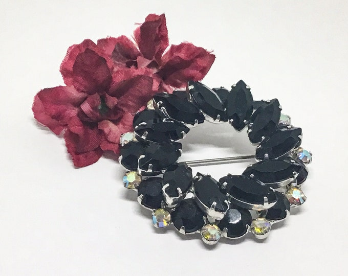 D & E Juliana Black Wreath Brooch, Two Layers Black Rhinestones, AB Rhinestones, Vintage 1969s, Juliana Lovers and Collectors