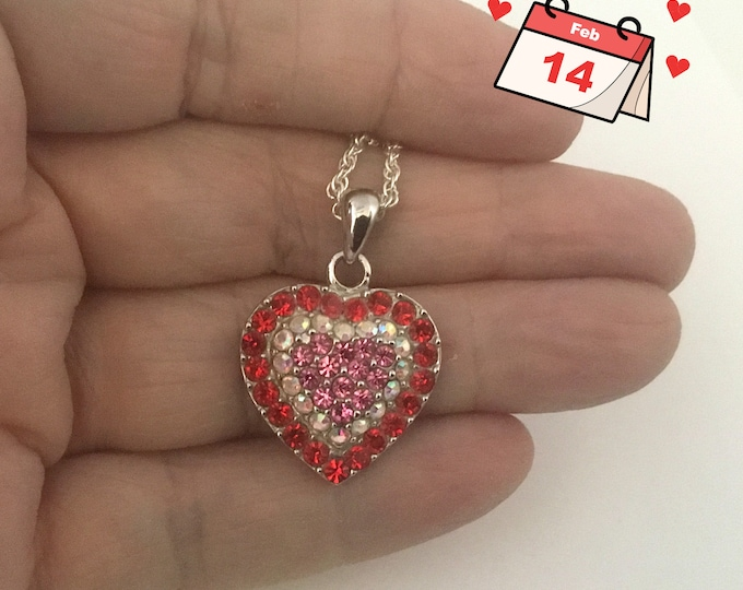 Vintage Crystal Heart Necklace, Red Clear & Pink Crystals, Sparkly, Valentine Gift