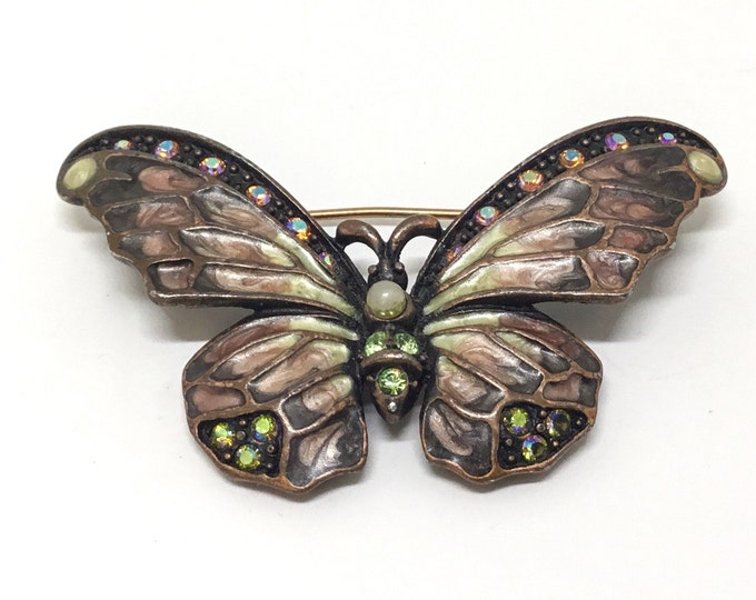 Vintage Joan Rivers Enamel Butterfly Brooch, Crystals and Faux Pearl Accents, Boho Jewelry