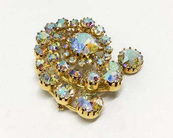 KARU ARKE Golden AB Rhinestone Swirl Brooch, Rich Glossy Goldtone, Layered Brooch, Stunning Sparkly Brooch