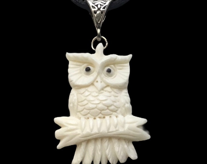 "Handmade Carved Owl Pendant, 18""Cord, Owl Lovers"