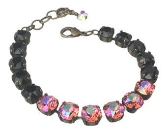 Handmade with Swarovski Crystals Bracelet, Jet Black and a Shimmering Pink