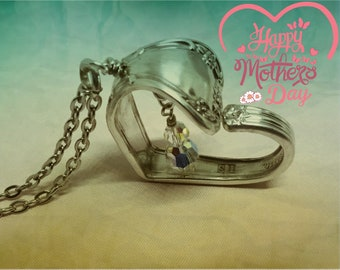 Handmade Vintage Spoon Handle Heart Pendant, Swarovski Crystal AB Beads Dangle