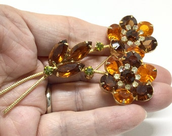 Vintage D & E Juliana Root Beer Rhinestone Flower Brooch Pin