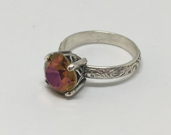 Handcrafted Sterling Silver Ring Made with a Swarovski Crystal Ring Size 9