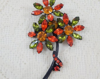 Fabulous Vintage Retro Colors Three Flower Brooch Pin