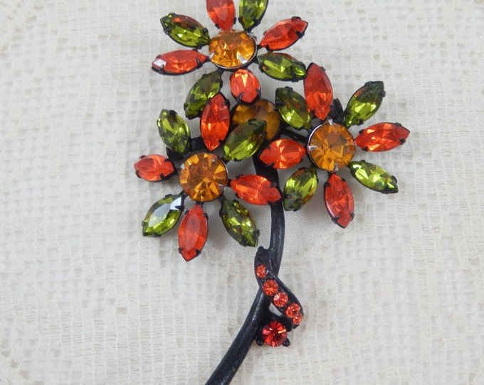 Fabulous Vintage Retro Colors Three Flower Brooch Pin