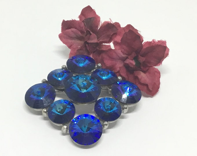 Vintage Blue Rivoli Brooch, Unsigned WEISS, WEISS Collectors,