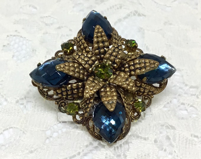 Vintage Flower Brooch/Goldtone Metal Bead Petals/Large Blue Teardrop Rhinestones/Olivene Rhinestone Accents/Goldtone Filigree Base