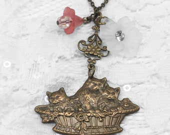 """Vintage Cats in a Basket Stamping Necklace, Two Dangle Flowers, 24"""" Brass Chain, Cat Lovers"""