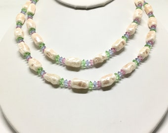 Vintage Vendome Faux Pearl Rivoli Beads Necklace, Double Strand, Pastel Glass Rivoli Beads, Ornate Clasp, Vendome Collectors