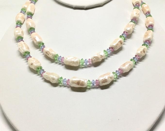 Vintage Vendome Faux Pearl Rivoli Beads Necklace, Double Strand, Pastel Glass Rivoli Beads, Ornate Clasp, Vendome Collectors