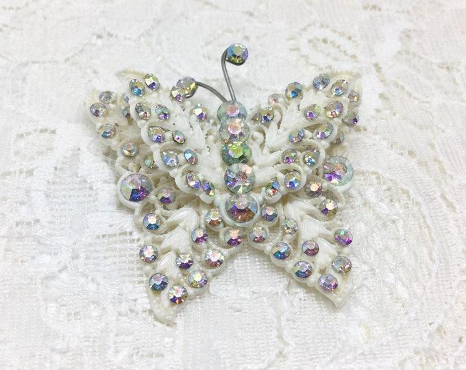Vintage Celluloid Rhinestone Butterfly BroochPin