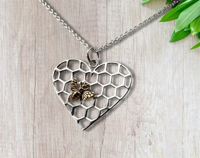 """Honeycomb Heart Pendant Sterling Silver, Bronze Bee, 18"""" Sterling Silver Chain, Valentines Gift"""