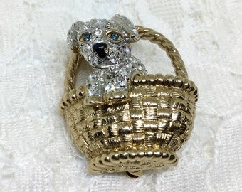 Vintage CAROLEE Signed Rhinestone Puppy in a Basket Brooch Pin