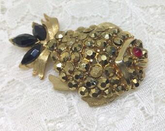 Vintage Aurum Gold Rhinestones Fish Brooch