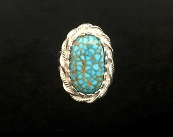 Handmade Sterling Silver Turquoise Ring, Kingman Red Web Turquoise