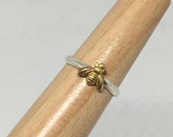 Bee Ring/ Honey Bee/  14kt Goldplated Brass Bee/ 925 sterling band/ Made USA