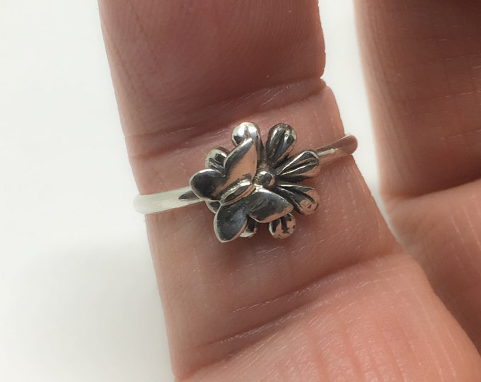 Butterfly Flower Ring, 925 Sterling Silver Ring, Dainty Ring, Made USA