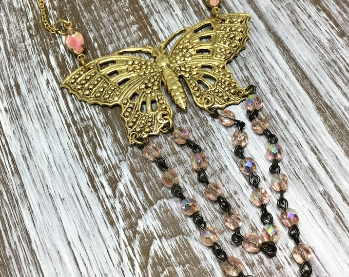 """Handcrafted Butterfly Necklace/Openwork Brass Butterfly/Pink AB Bead Double Swag/Vintage Inspired/BOHO/18"""" Goldtone Chain/Rhinestone Accents"""