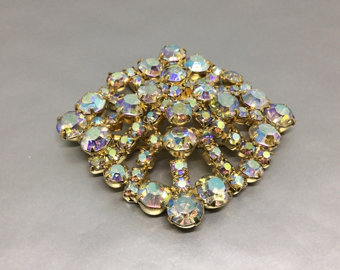 Vintage Aurora Borealis Rhinestone Brooch, Center Layered Flower, Openwork Spokes, Major Sparkle