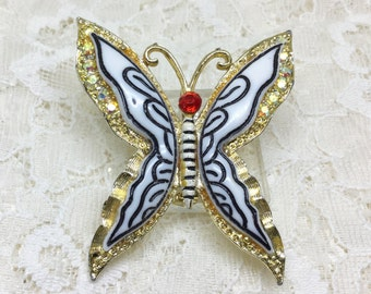 Vintage Molded Lucite AB Rhinestone Butterfly Brooch Pin