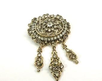 Vintage KRAMER of NEW YORK Elegant Goldtone Rhinestone Pendant