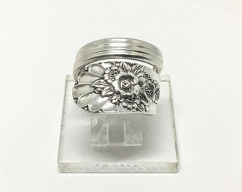 Handmade Vintage Silverplated Floral Spoon Ring, 1953 Jubilee Pattern, Snake Wrap Around Style, Boho Statement Ring
