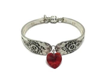 Handmade Vintage Spoon Bracelet, Silverplated, Valentines Gift, Swarovski Crystal Heart Dangle